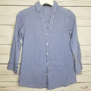 The Limited | Gingham Faux Button Back Button Up